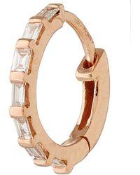 Stone - Rose Gold Diamond Baguette Single Hoop Earring - Lyst