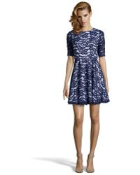 Shoshanna Ink Floral Lace Woven 'Carmen' 3/4 Sleeve Flared Dress - Lyst