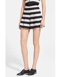 Alice + Olivia Stripe Tweed Skirt - Lyst