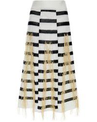 Thakoon Flax Raffia Woven Stripe Knit Skirt - Lyst
