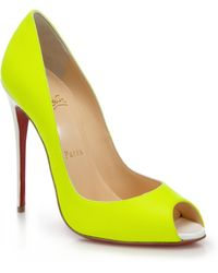Christian Louboutin Youpi Leather Peep-Toe Pumps - Lyst