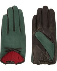 Agnelle Leather-Trimmed Suede Gloves - Lyst
