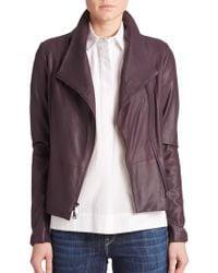 Vince Leather Scuba Jacket purple - Lyst