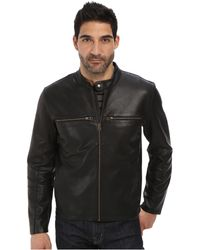 Cole Haan Bonded Leather Moto Jacket With Raw Edges - Lyst