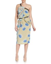 Etro One-Shoulder Silk Print Dress - Lyst