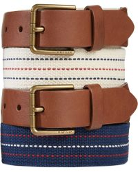 Tommy Hilfiger Leather-Tab Fabric Belt - Lyst