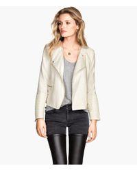 H&M Biker Jacket in A Cotton Mix - Lyst