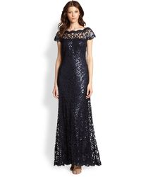 Tadashi Shoji Offtheshoulder Sequined Lace Gown - Lyst