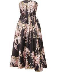 Rochas   Strapless Midi Wisteria Printed Dress   Lyst