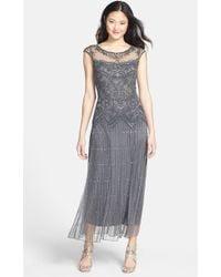 Pisarro Nights Illusion Beaded-Mesh Dress - Lyst