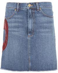Marc Jacobs Embellished Denim Skirt - Lyst