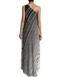 Halston Heritage Striped One-Shoulder High-Low Gown - Lyst