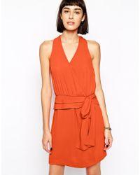 Greylin Tiffany Faux Wrap Silk Dress - Lyst