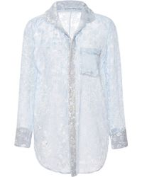 Katie Ermilio Floral Chiffon Pajama Top - Lyst