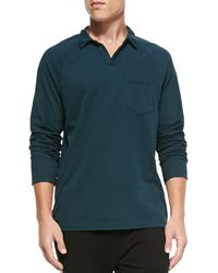 James Perse Long-sleeve Sueded Jersey Polo - Lyst