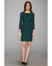 Adrianna Papell Long Sleeve Lace Dress - Lyst