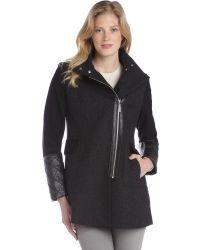 Kensie Black Wool Blend Faux Leather Trimmed Zip Front Coat - Lyst