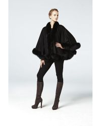 Sofia Cashmere Pure Cashmere Wrap Cape Trimmed With Real Dyed Fox black - Lyst