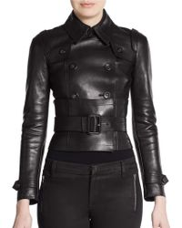 Burberry Prorsum Leather Belted Jacket - Lyst