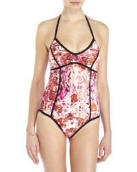 76472070fe3d2 Ivanka Trump - Floral Halter Piped One-Piece Swimsuit - Lyst