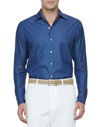Loro Piana Denim Longsleeve Shirt Atlantis Blue - Lyst