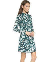 Shoshanna Judy Shirtdress Bottle Greenivory - Lyst