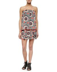 T-bags - Tiered Strapless Printed Mini Dress - Lyst