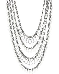 R.j. Graziano Faux Pearl and Stone Layered Opera Necklace - Lyst