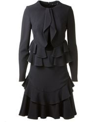 Alexander McQueen Black Long Bimaterial Dress Embellished with Ruffles - Lyst