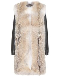 Saint Laurent Fur Coat With Leather Sleeves - Lyst