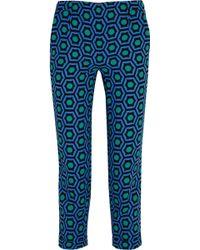 Lulu & Co Cropped Printed Crepe Slimleg Pants - Lyst