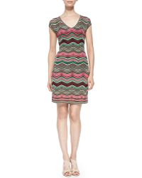 M Missoni V-neck Dress W Pebble Chevron Stripes - Lyst