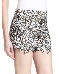Alice + Olivia - High-waist Lace Shorts - Lyst
