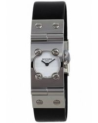 Rochas - Womens White Dial Black Leather Watch - Lyst