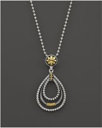 """Lagos - 18k Green Gold And Sterling Silver Micro Triple Loop Pendant Necklace, 16"""" - Lyst"""