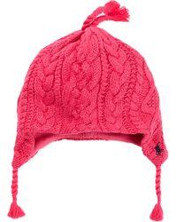 Ralph Lauren Aran Cable Knit Earflap Hat - Lyst