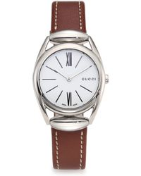 Gucci | Horsebit Stainless Steel & Leather Strap Watch | Lyst