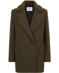 Nicole Farhi | Wool Twill Pea Coat | Lyst