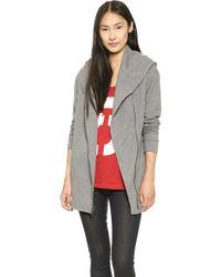 DKNY Pure Asymmetrical Jacket with Hood  Heather Grey - Lyst