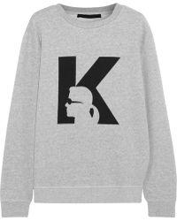 Karl Lagerfeld Anna Printed Cotton-jersey Sweatshirt - Lyst