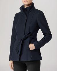 Reiss - Jacket Hermitage Belted Wool - Lyst