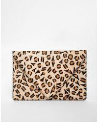 Asos Leopard Print Ponyskin Clutch Bag - Lyst
