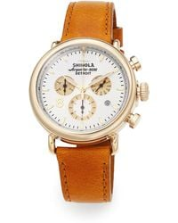 Shinola Runwell Goldtone Pvd Stainless Steel & Leather Chronograph Strap Watch - Lyst