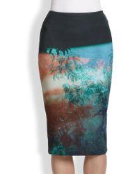 McQ by Alexander McQueen Haze-Print Stretch-Cotton Skirt blue - Lyst