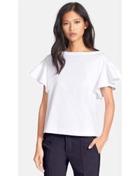 See By Chloé Women'S Flutter Sleeve Cotton Jersey Top - Lyst