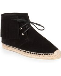 Saint Laurent Fringe-Trimmed Suede High-Top Espadrilles - Lyst