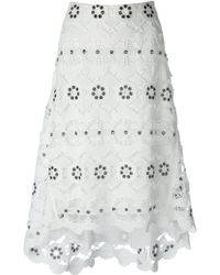 Chloé White Lace Skirt - Lyst