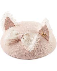Maison Michel Bibi Yoko Felt Hat With Lace - Lyst