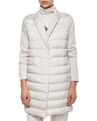 Brunello Cucinelli Silk Sleeveless Puffer Jacket - Lyst