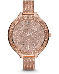 Michael Kors Slim Runway Pave-embellished Rose Gold-tone Watch - Lyst